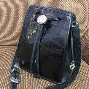BRIGHTON Black Croco Leather Vintage D/S Bucket